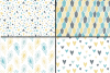 Blue and Yellow Seamless Digital Paper / Pastel Hand drawn patterns / Scales, Hearts, Leaves, Terrazzo Backgrounds example image 2