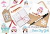 Snow Day Girls Clipart, Instant Download Vector Art example image 4