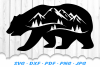 Bear Mountains Silhouette SVG DXF Cut Files example image 1