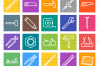 50 Hand Tools Line Multicolor B/G Icons example image 2