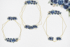 Navy Blue Watercolor Flowers Frames, Geometric Gold Frames, example image 6