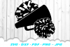 Cheerleader Cheer Megaphone Poms SVG DXF Cut Files Bundle example image 3