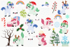 Magical Christmas Unicorns Clipart, Instant Download example image 2