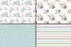 Pastel flowers seamless pattern / Peach blue green floral digital paper / Floral scrapbook papers example image 2