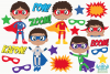 Superhero Boys 1 Clipart, Instant Download Vector Art example image 2