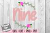 Nine Flower Wreath Birthday SVG example image 1