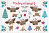 Cute Christmas Deer. Vector cliparts. example image 2