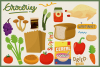 80 Groceries Vector Clipart & Seamless Patterns example image 2