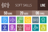 50 Soft Skills Line Multicolor B/G Icons example image 1