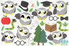 Owl Boys Clipart, Instant Download Vector Art example image 2