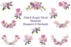 Pink Purple Flowers Arrangements Sublimation Clipart Bundle example image 1