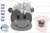 Floral Hippo SVG | Cute Hippo Face SVG Cut File example image 1
