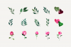 Pink Watercolor Hand Painted Roses Clip Art Set example image 3