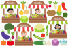 Vegetable Stall Clipart, Instant Download Vector Art example image 2