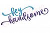 Hey Handsome Whimsical Flirty Upright Calligraphy Husband Groom Man Baby Boy Embroitique machine Embroidery Design example image 1