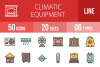 50 Climatic Equipment Linear Multicolor Icons example image 1