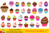 Cute assorted cupcakes clipart - vector example image 1