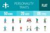 50 Personality Traits Flat Multicolor Icons example image 1