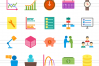 50 Business Management Flat Multicolor Icons example image 2
