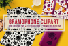 Retro Gramophone Clipart And Seamless Patterns example image 1