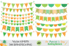 St Patrick`s Day Bunting Banner Clipart / Irish Orange and Green Bunting Vector Clip Art example image 2