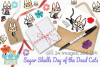 Sugar Skulls Day of the Dead Cats Clipart, Instant Download example image 4