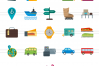 166 Transport Flat Icons example image 2