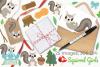 Squirrel Girls Clipart, Instant Download Vector Art example image 4