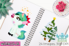 Christmas Unicorns 1 Watercolor Clipart, Instant Download example image 3
