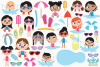 Pool Party Girls Clipart, Instant Download Vector Art example image 2