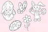Easter Bunnies Digital Stamps example image 4