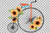 Sunflower bouquets high wheelers clip art. Floral bicycles example image 8