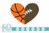 Basketball Football Heart SVG, DXF, AI, EPS, PNG, JPEG example image 1