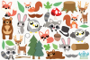 Woodland Animals Boys Clipart, Instant Download Vector Art example image 2