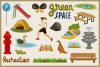 Public Park Vector Clipart and Seamless Pattern example image 2