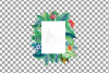 Watercolor tropical navy blue and green exotic floral frames example image 15