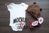 White one-piece baby outfit, onesie / bodysuit MOCK-UP example image 1