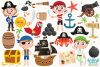 Pirate Boys 1 Clipart, Instant Download Vector Art example image 2
