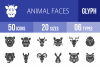 50 Animal Faces Glyph Icons example image 1