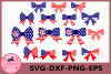 Flag Bow SVG, Bow Monogram SVG, 4th of July Svg, America svg example image 1