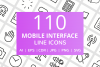 110 Mobile Interface Line Icons example image 1