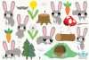 Rabbit Boys Clipart, Instant Download Vector Art example image 2