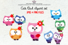 Cute OWL clipart set example image 1