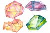 Crystals orange and green Watercolor png example image 1