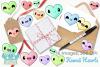 Kawaii Hearts Clipart, Instant Download Vector Art example image 4