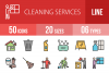50 Cleaning Services Linear Multicolor Icons example image 1