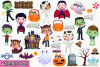 Halloween Trick Or Treaters Boys Watercolor Clipart example image 2