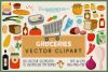 80 Groceries Vector Clipart & Seamless Patterns example image 1