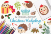 Christmas Hedgehogs Clipart, Instant Download Vector Art example image 1