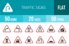 50 Traffic Signs Flat Multicolor Icons example image 1